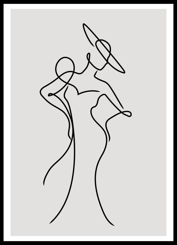 Kvinna med hatt skiss poster