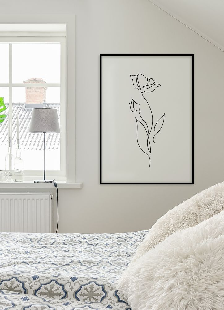 Skiss blomma poster