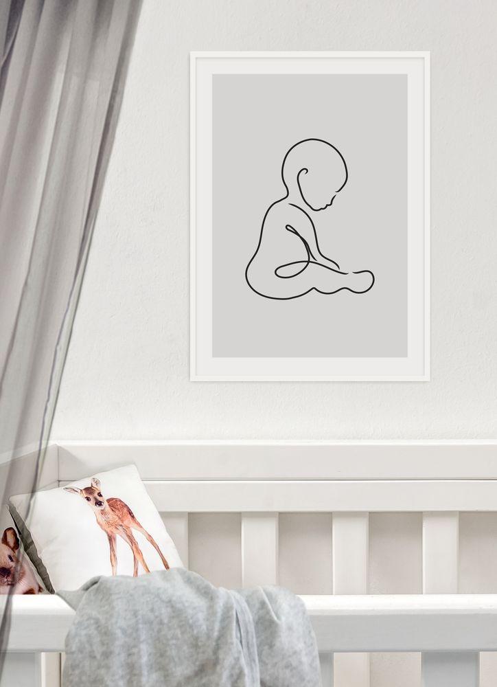 Sittande baby skiss poster