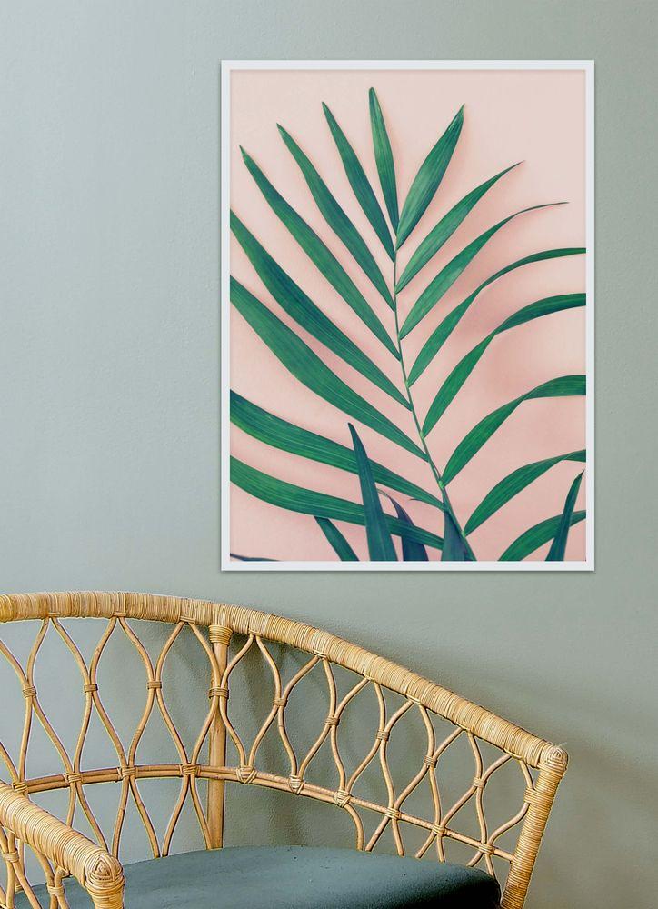 Palmblad rosa bakgrund poster