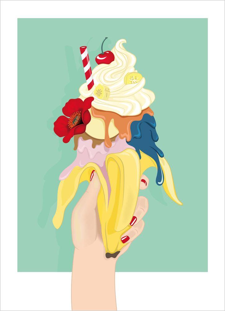 Retro banana split poster