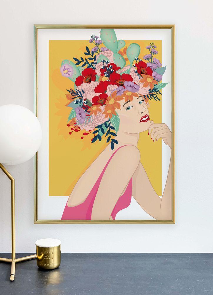 Retro blomsterflicka poster