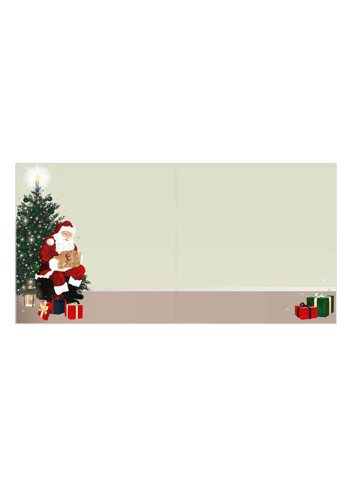 Jultomte med julklappar julkort