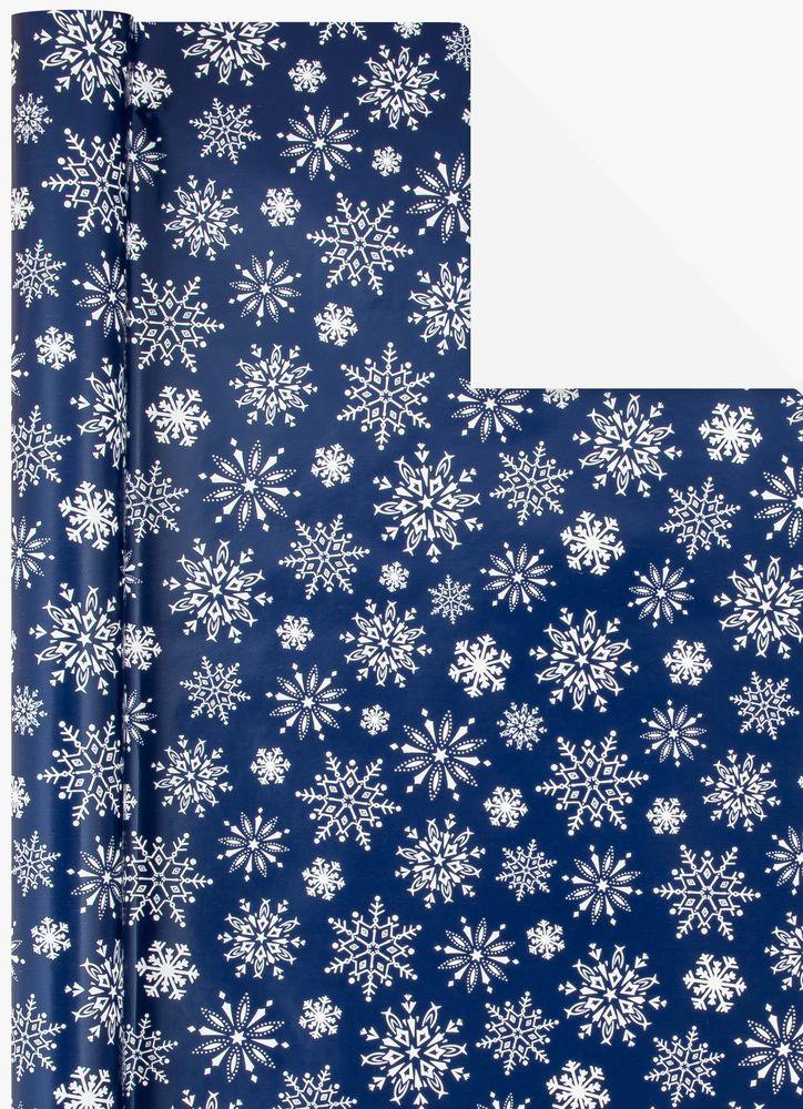 Presentpapper Snöflingor marinblå