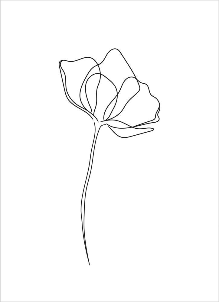 En blomma vit poster