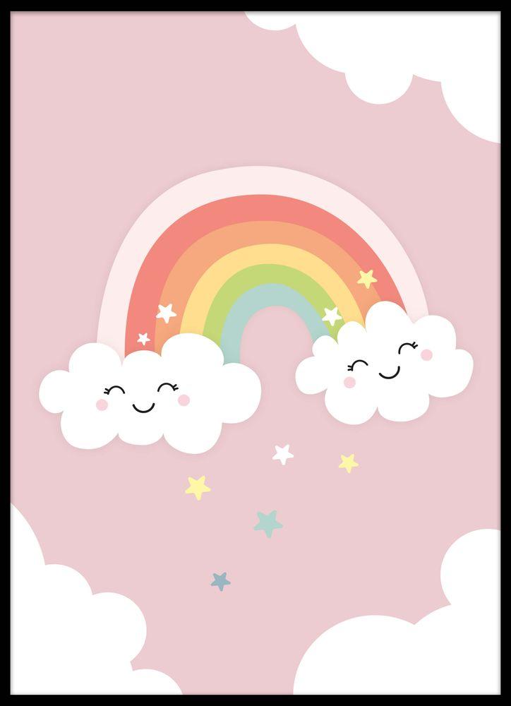 Glad regnbåge rosa poster