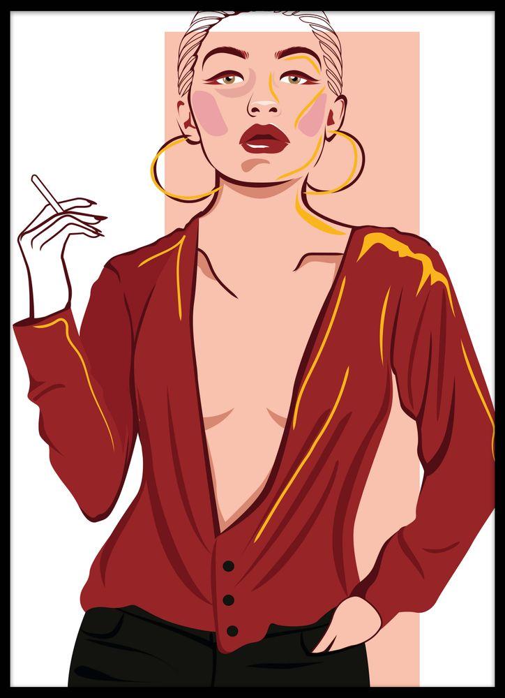 Rökande kvinna poster