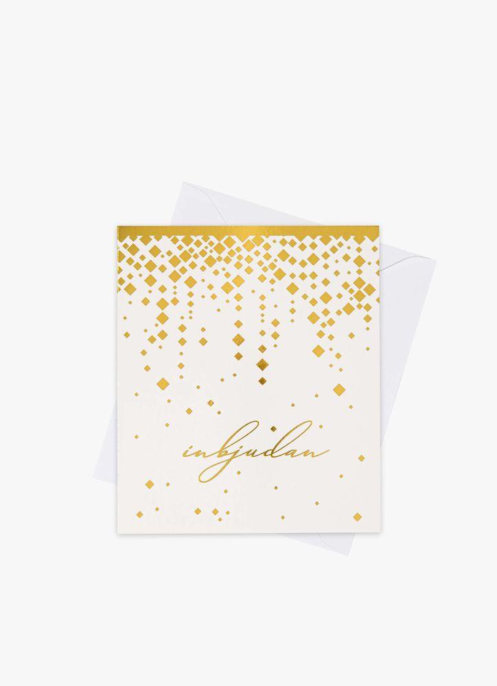 Guldkonfetti inbjudningskort 5-pack