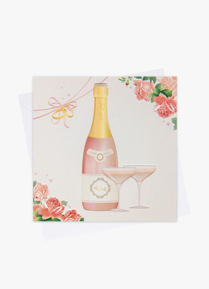 Bröllopskort rosa champagne