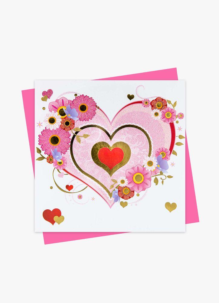 Blomstrande Hjärta Gratulationskort