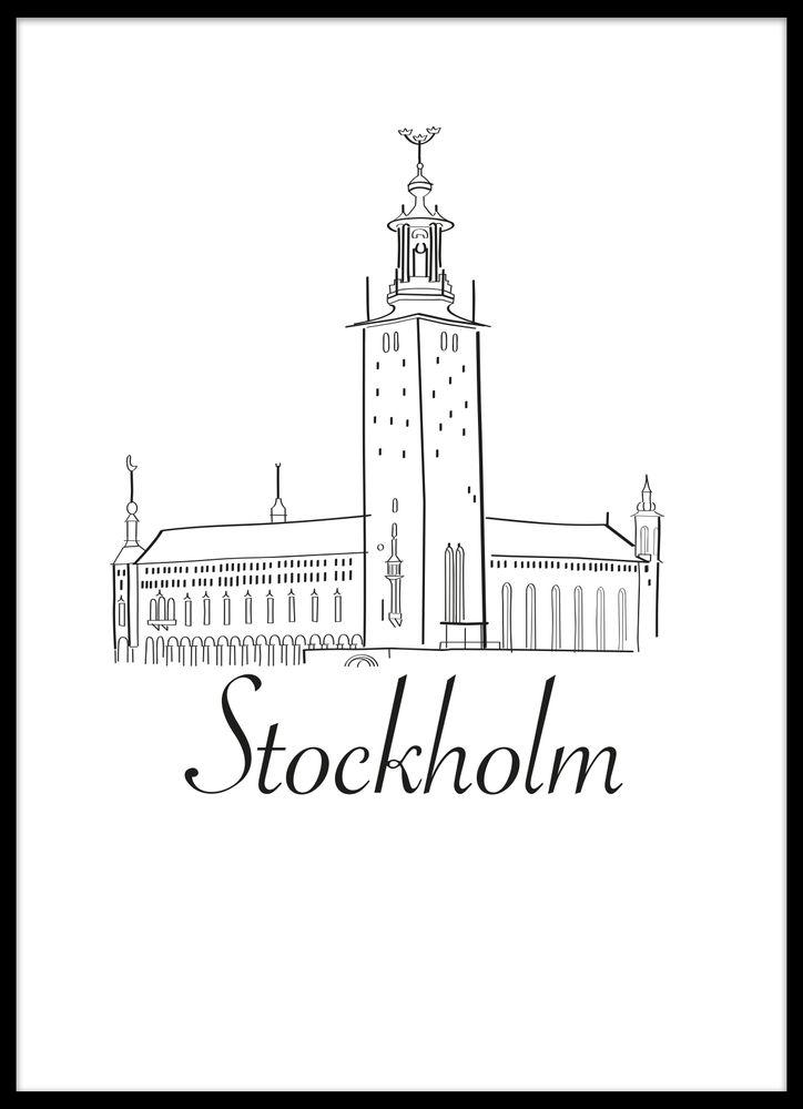 Stockholm skiss poster