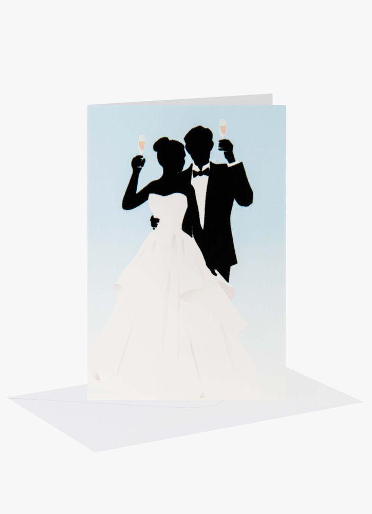 Skålande Bröllopspar Bröllopskort