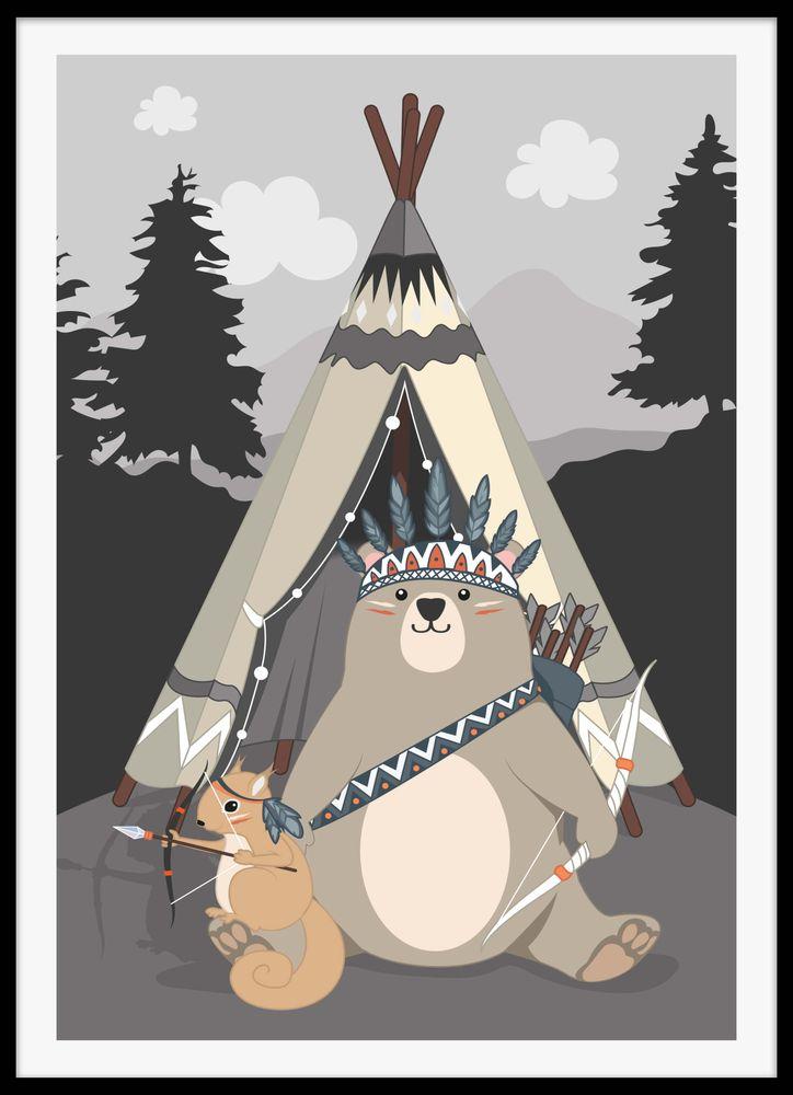 Björn och ekorre vid tält poster