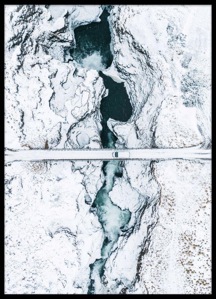 Vinter vattenfall poster