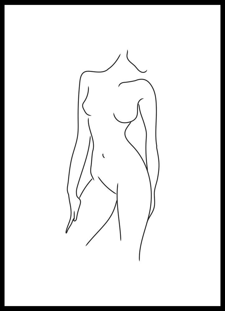 Kvinna kropp vit poster