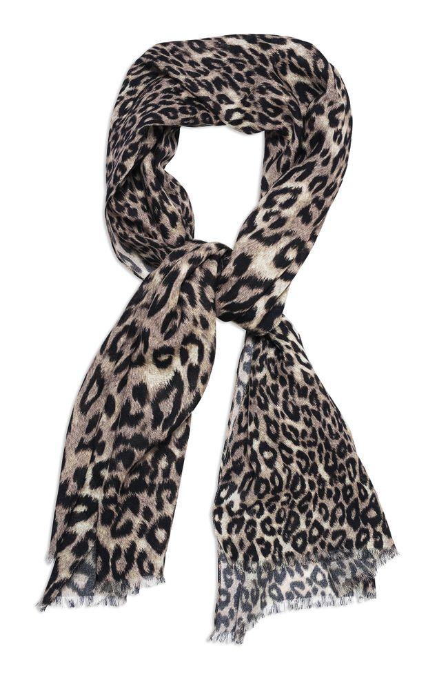Leopard patterned wool scarf