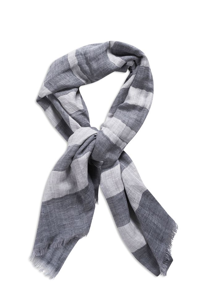 Block Coloured wool and linen Scarf
