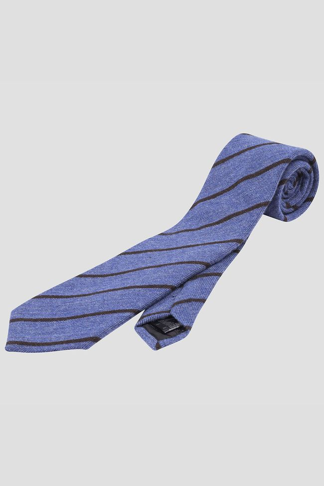 Striped cashmere & silk tie