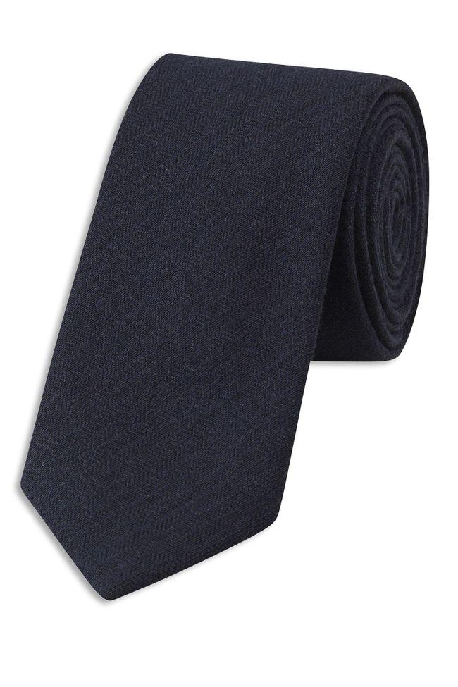 Herringbone patterned wool tie
