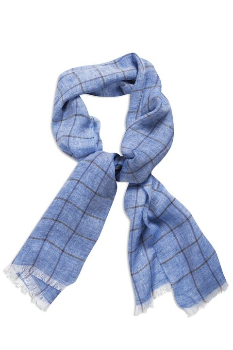 Checked linen scarf
