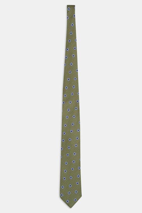 Patterned wool & silk tie