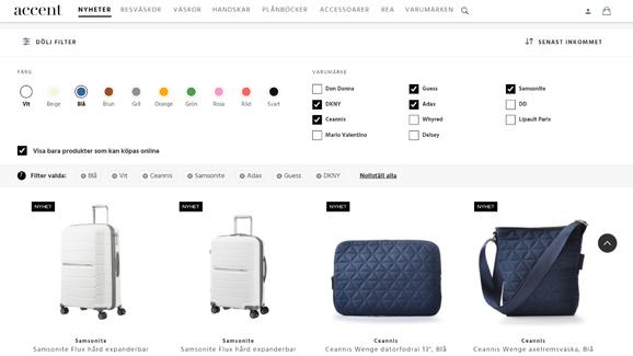 Accent-verkkokauppa tarjoaa laajan valikoiman matkalaukkuja