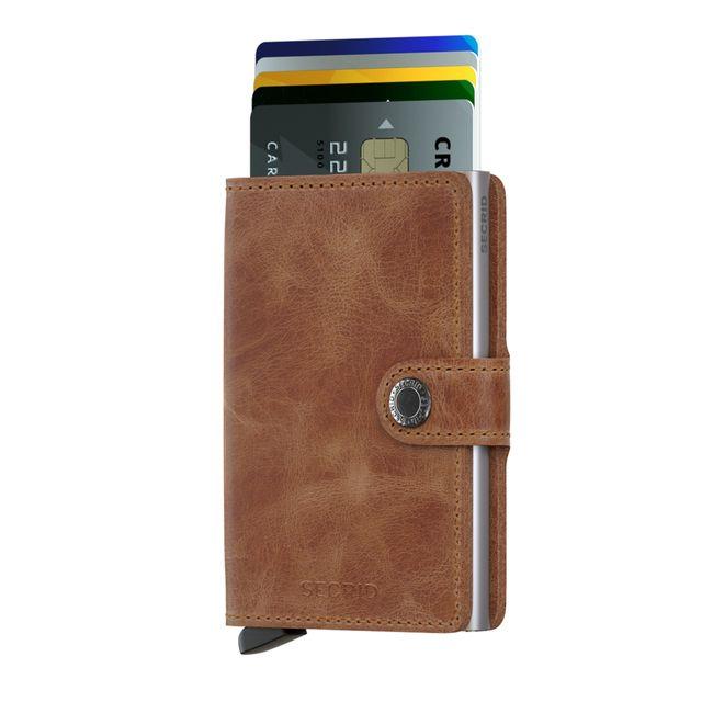 Secrid liten lommebok i skinn og metall